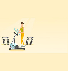 Woman exercising on elliptical trainer vector