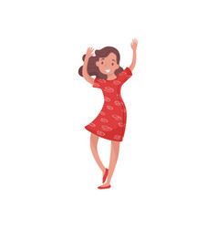 young happy woman dancing with hands up teenager vector image