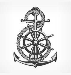 anchor with rope and steering vector image vector image