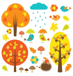 Birds and trees in autumn vector image