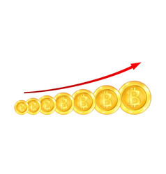 infographic uptrend line arrow for bitcoin sign on vector image vector image