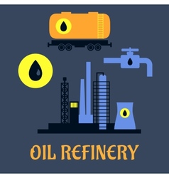 Oil refinery flat industrial icons vector image