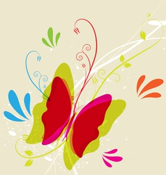 Butterfly and floral vector image vector image