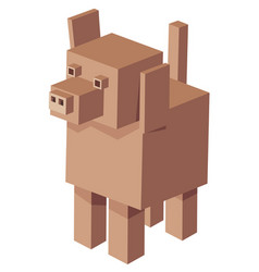 Cubical dog cartoon character vector