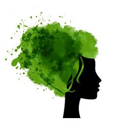 head with watercolor hear vector image
