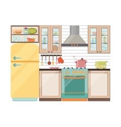 Kitchen interior Kitchen appliances and utensils vector image vector image