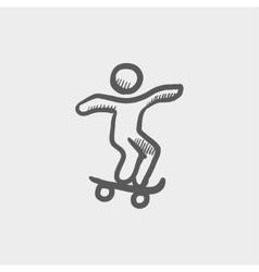 Man skateboarding sketch icon vector image