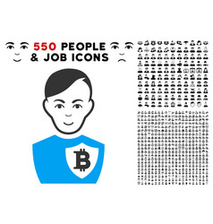 Bitcoin police officer icon with bonus vector