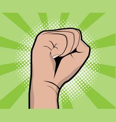 hand fist revolution pop art comic book background vector image vector image
