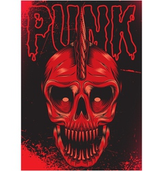 poster with a red skull for punk rock vector image vector image