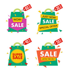 sale banner set in material design style vector image vector image