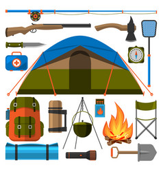 summer outdoor travel camping icons tourism hiking vector image