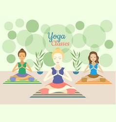 Three beautiful women practicing yoga exercises in vector