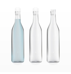 transparent empty bottles and bottle with water vector image