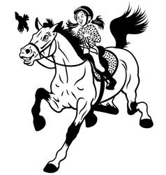 cartoon girl riding horse black white vector image vector image