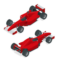 isometric red sport car or formula 1 car flat 3d vector image vector image
