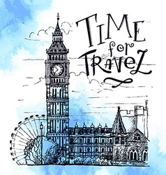 London Landmark Landscape of London Big Ben Tower vector image vector image