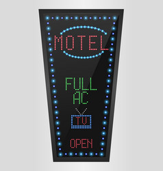 retro sign with blue lights and the word motel vector image vector image