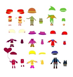 set of childrens clothes design elements vector image vector image