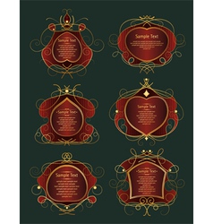 set of red and gold frames vector image vector image