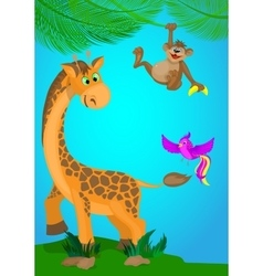 with a giraffemonkey and bird vector image vector image