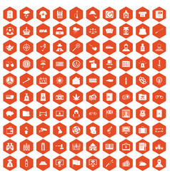 100 police icons hexagon orange vector