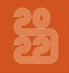 2022 line design retro 70s numbers new year vector