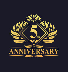 5 years anniversary logo luxury floral golden 5th vector