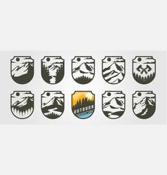adventure emblem logo mountain design vintage vector image