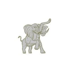 African elephant prancing mono line vector