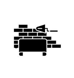 architectural supervision black icon sign vector image