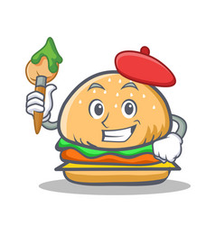 Artist burger character fast food vector