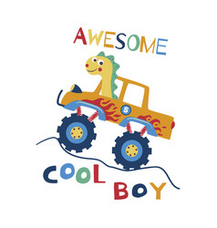 Awesome cool boy t-shirt design for kids vector