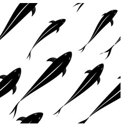 background pattern black fish silhouettes in vector image