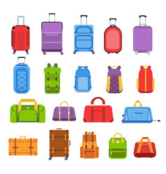 baggage suitcases luggage and handle bags vector image