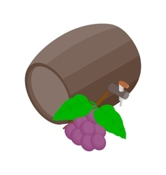 Barrel of wine with grape branch icon vector image