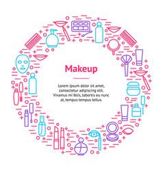 beautiful female make up banner card circle vector image