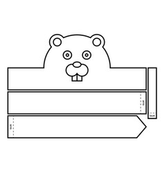 Beaver coloring headband vector