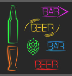 beer multicolored vibrant neon signs luminous vector image