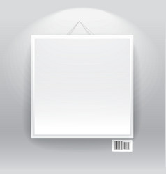 Blank frame on the wall with barcode sign vector image vector image