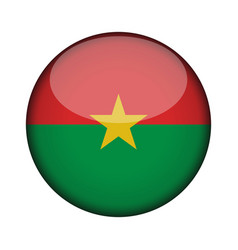 burkina faso flag in glossy round button of icon vector image