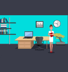 businesswoman or top manager stands in modern vector image