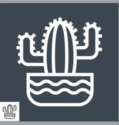 cactus thin line icon vector image