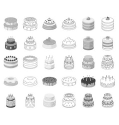 cake and dessert monochromeoutline icons in set vector image
