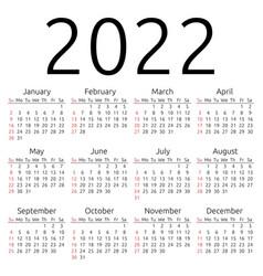 Calendar 2022 sunday vector