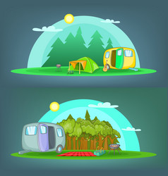 Camping 2 banner set horizontal cartoon style vector