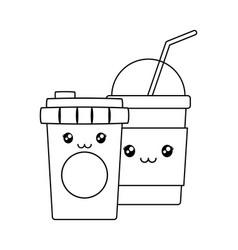 Coffee in plastic container with milkshake kawaii vector