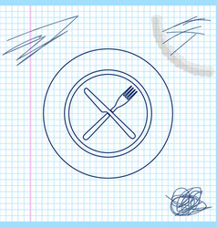 crossed fork and knife on plate line sketch icon vector image