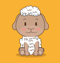 Cute and little sheep character vector