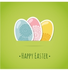 Cute easter card with painted easter eggs vector